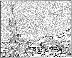 adult van gogh starry night coloring pages printable and coloring book to print for free find more coloring pages online for kids and adults of adult van