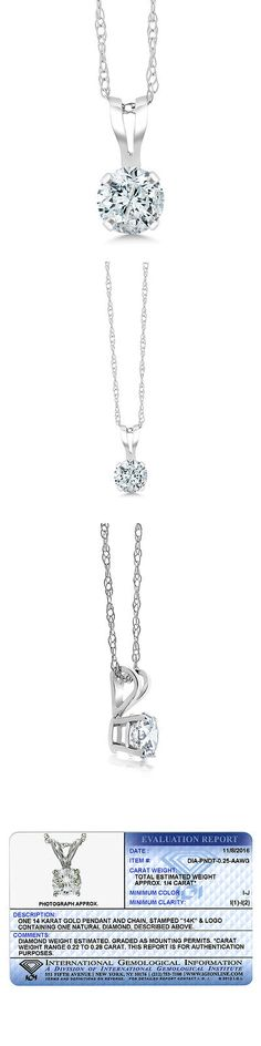 Diamond 164331: Igi Certified 1 4 Ct 14K White Gold Round Cut Solitaire Diamond Pendant Necklace -> BUY IT NOW ONLY: $169.99 on eBay!