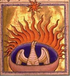 A Manuscript illumination of a Phoenix