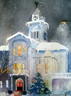 Adair County Courthouse,  Columbia, KY.  Painting by Pat Bell, former mayor.