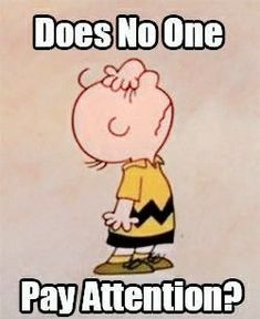"""""""Does No One pay attention?"""", Charlie Brown, I couldn't agree more. Peanuts Gang, Peanuts Cartoon, Cartoon Fun, Snoopy Love, Snoopy And Woodstock, Charlie Brown Und Snoopy, Charlie Brown Quotes, Teaching Humor, Teacher Funnies"""