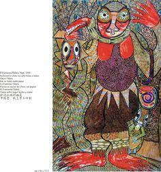 "Twins Seven Seven 1968 ink on handmade paper ""Ghost Odara"" Nigeria African Artists, The Seven, Global Art, Twins, Kids Rugs, Culture, Abstract, Masks, Handmade"