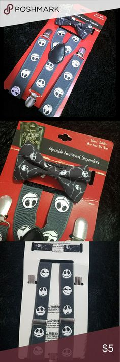 Jack Skellington Bowtie & Suspenders Brand new without tags Nightmare Before Christmas bowtie and suspenders set for an infant/toddler. Received as a gift and never opened. Super cute and still in perfect condition! Spencers Accessories Suspenders