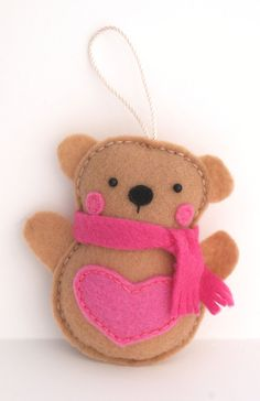 Handmade Winter Felt Bear Ornament  Light Brown and Pink by WhimzyHollow