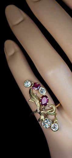 antique art nouveau ruby and diamond ring made in Moscow between 1899 and 1908.