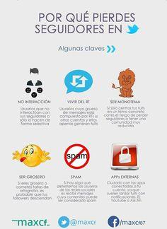 Una infografía, completamente en español, que nos muestra seis factores o motivos que pueden hacernos perder seguidores en la red social Twitter.