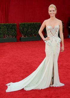 Best Emmy Awards Dress: January Jones, 2009 We can always count on January Jones to take a major risk on the red carpet. In her daring Versace dress, the Mad Men actress shed her Betty Draper persona for a look that was all modern.