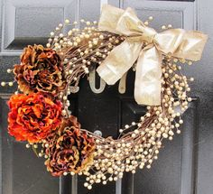 Gold Holiday Fall Wreath Thanksgiving Berry Peonies Wreath Wedding Home Decor on Etsy, $91.00