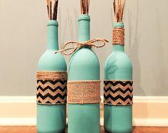 Playa de botella de vino Teal Livin ' arpillera Set vino botella Set azul y conjunto de arpillera