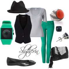@To complete: black vest, turquoise pants@