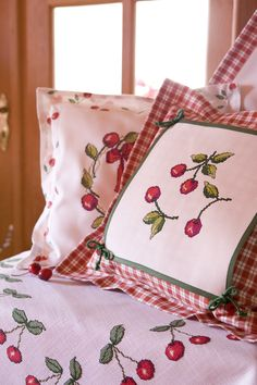Pillows with Embroidered Cherries