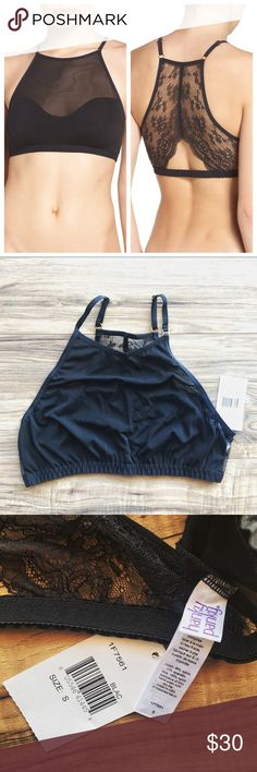 NWT Hanky Panky Natalia High Neck Bralette Sporty and sexy bralette with mesh front and lacy cutout racerback.  Measurements lying flat: Bust 11.5 stretches to 16.5 Hanky Panky Intimates & Sleepwear Bras
