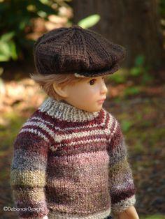 Hand-knit Sweater & Newsboy Cap set for Kidz n Cats boy dolls by Debonair Designs