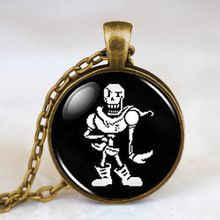 Undertale Papyrus Game Gamer Gaming Mens Handmade Fashion Necklace brass silver Pendant steampunk Jewelry Gift women toy chain(China (Mainland))