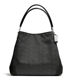 COACH MADISON SMALL PHOEBE SHOULDER BAG IN OP ART PEARLESCENT FABRIC-SILVER BLACK