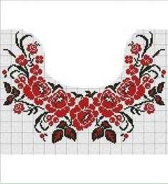 Cross Stitch Borders, Cross Stitch Rose, Cross Stitch Flowers, Cross Stitch Charts, Cross Stitch Designs, Cross Stitching, Cross Stitch Patterns, Hand Embroidery Tutorial, Folk Embroidery