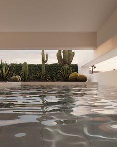 Patio Design, Exterior Design, Interior And Exterior, House Design, 3d Architecture, Art Deco, D House, Minimal Home, Interior Rendering