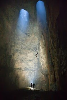 Adventure rock climbing inside the Zlot Caves, Serbia