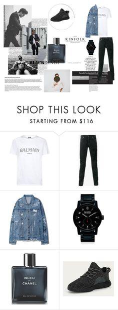 """black denim"" by frederikkematilder on Polyvore featuring Balmain, Yves Saint Laurent, Nixon, Chanel, Folio, adidas, men's fashion and menswear"