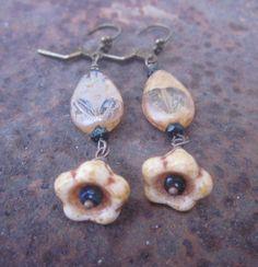 Czech glass three ways  flower earrings by elementsinspired, $15.00