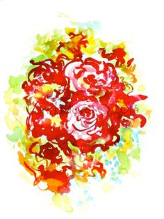 Abstract Floral Original Watercolor Painting - Love in Bloom - Modern Home Decor - Affordable Gift - Wedding - Bridal Style