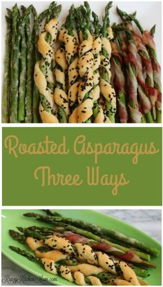 Roasted with parmesan cheese, wrapped in bacon and roasted, and wrapped in store-bought crescent rolls and baked - Roasted Asparagus Three Ways are sure to please everyone. #springvegetables #springveggies #asparagus #bakedasparagus #easterdinner #eastersides