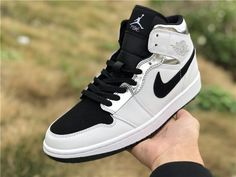 check out 770f2 d6007 2019 Air Jordan 1 Mid Alternate Think 16 White Silver-Black Shoes-2 Air