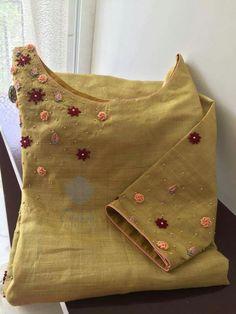 Beautiful beige kurti with embroidery Embroidery On Kurtis, Hand Embroidery Dress, Kurti Embroidery Design, Embroidery Neck Designs, Embroidery Works, Hand Embroidery Stitches, Embroidery Fashion, Beaded Embroidery, Kurtha Designs