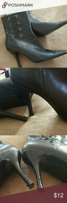 "Very nice looking black leather Booties . Lacing detail on sides. 3"" heel. Bandolino Shoes Ankle Boots & Booties"
