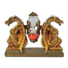 DUAL GOLDEN CHINESE DRAGON SANDTIMER STATUE HOURGLASS