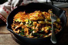 Bœuf Stroganoff mit Kartoffelpuffer  Das würzige Boeuf Stroganoff harmoniert perfekt mit den milden, kross gebratenen Kartoffelpuffern.  http://einfach-schnell-gesund-kochen.de/boeuf-stroganoff-mit-kartoffelpuffer/