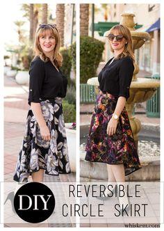 Fun reversible skirt DIY!  Make this circle skirt tutorial with a high-low hem.