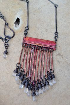 a truly unique OOAK fold formed oxidized copper by StudioLunaVerde, $140.00