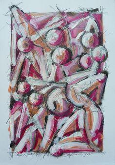 Figure - acrilico su cartoncino, 50 x 35 cm - 5 aprile 2017