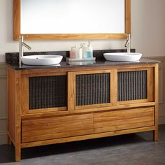 "60"" Holloway Teak Double Vanity for Semi-Recessed Sinks - Natural Teak"