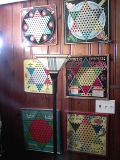 Colorful vintage Chinese checkers game boards collected by artist, jewelry-maker and Pinterest member, Stephen Parfitt (aka Ancient Circles)
