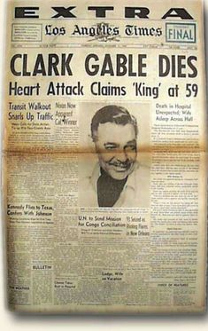 Newspaper Cover, Vintage Newspaper, Newspaper Headlines, Vintage Ads, Newspaper Article, Golden Age Of Hollywood, Classic Hollywood, Front Page News, Celebrity Deaths