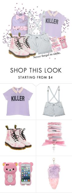 """""""~ never forget to smile ~"""" by freezespell ❤ liked on Polyvore featuring Dr. Martens, Accessorize, cute, Pink, purple, kawaii and lilac"""