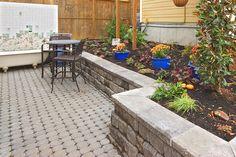 Eco-Stone Patio with RomanStack Retaining Wall