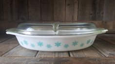 Vintage Pyrex Blue Snowflake Divided Dish with by EasyAsPieVintage