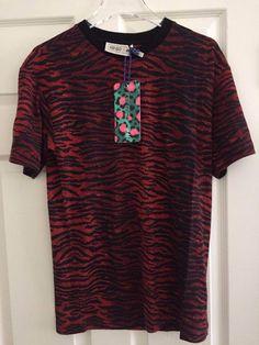 NWT KENZO x H M MENS T SHIRT DARK RED TIGER STRIPE WOOL JERSEY small  wool   jersey  small  stripe  tiger  mens  shirt  dark  kenzo eeb7474370e