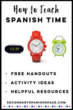 Spanish time activities including free Spanish time worksheets plus tons of helpful resources for telling time in Spanish. - Secondary Spanish Space Spanish Lesson Plans, Spanish Lessons, Spanish Teacher, Teaching Spanish, Telling Time In Spanish, Middle School Spanish, Class Games, Teaching Time, Time Activities