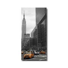 Tableau Taxis Jaunes Fond Noir et Blanc Empire State Building 50 x 100 cm