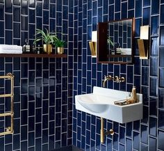 Bathroom Tiles Design Create A Fabulous Bath Tile Design. 40 Light Blue Bathroom Tile Ideas And Pictures Home and Family Art Deco Bathroom, Modern Bathroom, Bathroom Ideas, Gold Bathroom, Bathroom Designs, Bathroom Colors, Master Bathroom, Dark Tiled Bathroom, Bathroom Goals
