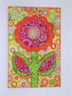happy flower fabric postcard