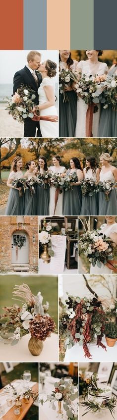 2018 Wedding Color Palette Inspiration: lucky penny + blue gray + butternut squash + eucalyptus + dusty navy | Image by Emily Delamater Photography