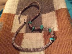 Vintage Heishi Sterling Silver & Turquoise Necklace by Tessey2, $59.00