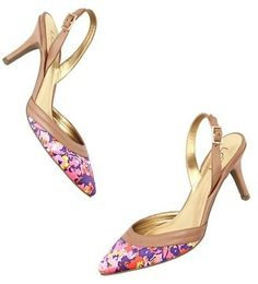 Love these! Anne Taylor Olive Leather Slingback Mid Heels