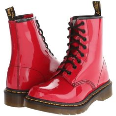 Dr. Martens 1460 W featuring polyvore, fashion, shoes, boots, sapatos, red patent, low heel shoes, dr martens boots, patent leather boots, short heel shoes and red patent leather boots