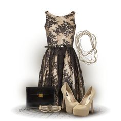 Cream and Black Lace Overlay Dress